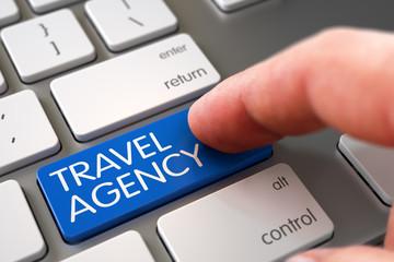 Hand Finger Press Travel Agency Key. 3D.