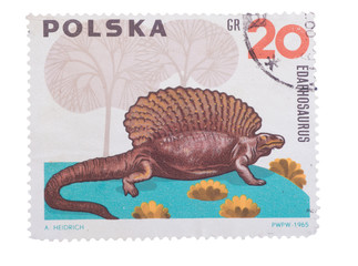 POLAND - CIRCA 1965: A stamp printed in  showing Edaphosau