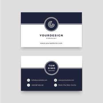 clean business card logo blue white
