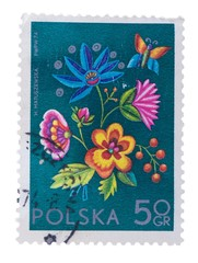 POLAND - CIRCA 1974: A stamp printed in  shows Plant desig