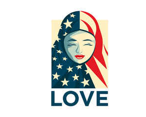 United States Of America Humanity Freedom Illustration - Love Muslim Refugee