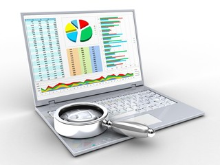 3d illustration of laptop over white background with business data screen and magnify flass