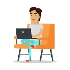 Man with Laptop on Sofa