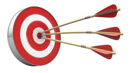 3d illustration of arrows with target over white background