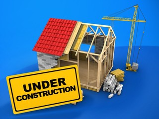 3d illustration of frame house structure over blue background with crane