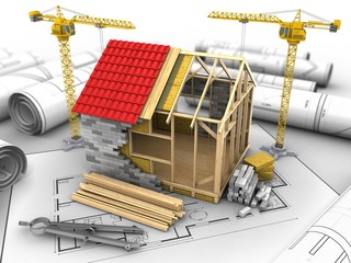 3d illustration of frame house structure over house plan background with two cranes