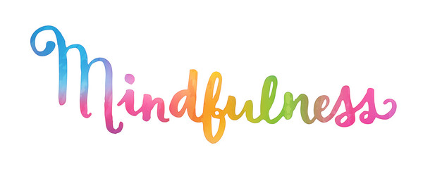 MINDFULNESS Hand Lettering Watercolour Icon