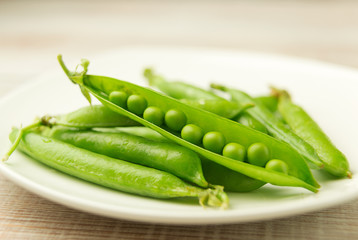 The pods of ripe beans and peas
