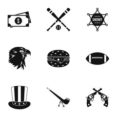 Country USA icons set, simple style