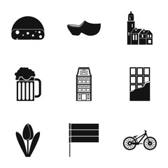 Holiday in Holland icons set, simple style