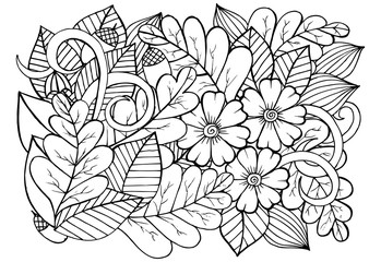 Black and white flowers and leafs pattern for adult coloring boo