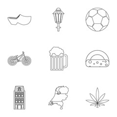 Attractions of Holland icons set, outline style