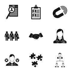 Job search icons set, simple style