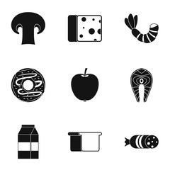 Breakfast icons set, simple style