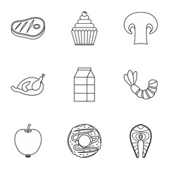 Morning breakfast icons set, outline style