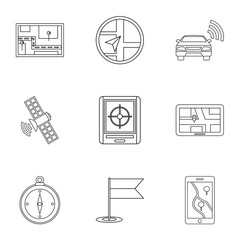 GPS icons set, outline style