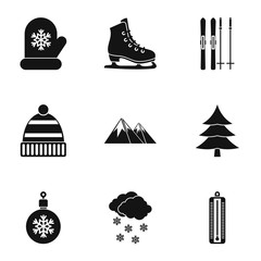 Winter frost icons set, simple style