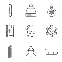 Winter icons set, outline style