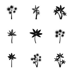 Types of palm icons set, simple style