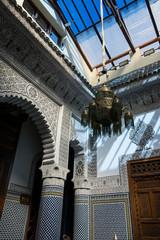 Traditional riad interior in Marrakech, Morocco.