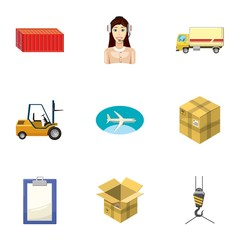 Shipping icons set, cartoon style