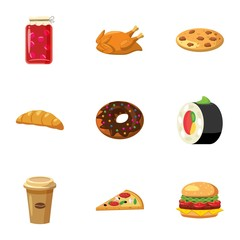 Unhealthy food icons set, cartoon style