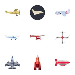 Flying vehicles icons set, cartoon style