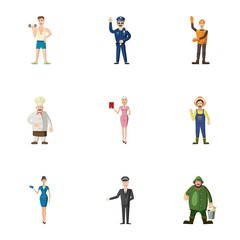 Workers icons set, cartoon style