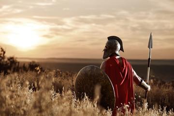Warrior wearing iron helmet and red cloak. Wall mural