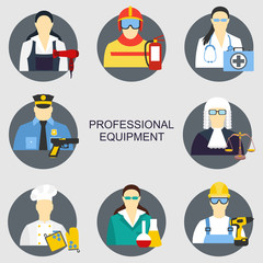 Vector illustration of collection icons of color professions equipment vector illustration