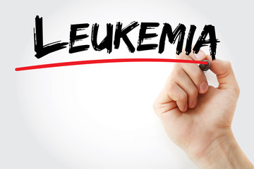 Hand writing Leukemia with marker, health concept background