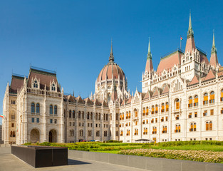 View from behind on Hungarian Parliament building in Budapest, Hungary