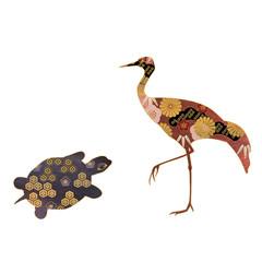 和柄の鶴と亀