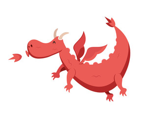 Cute Flat Animal Character Logo - Dragon