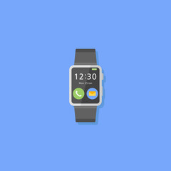 Smart watch isolated on blue background. Flat style icon. Vector illustration.