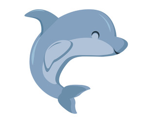 Cute Flat Animal Character Logo - Dolphin