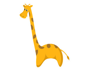Cute Flat Animal Character Logo - Giraffe