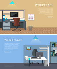 Set of Workplace Vector Web Banners in Flat Design