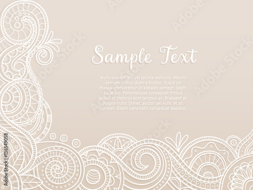 Abstract background wedding invitation or greeting card design with abstract background wedding invitation or greeting card design with hand drawn lace pattern corner stopboris Images