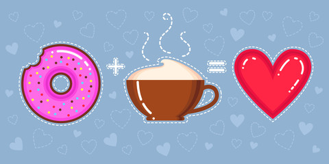 vector illustration of donut with pink glaze, cappuccino cup and heart on blue background