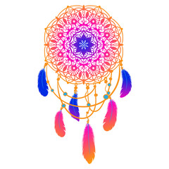 Ethnic Dreamcatcher with feathers and mandala. Vector illustration.