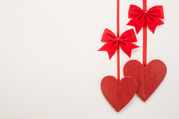Decorative red bow and heart