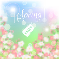 Wall Mural - Spring sale floral background with blossoming branch