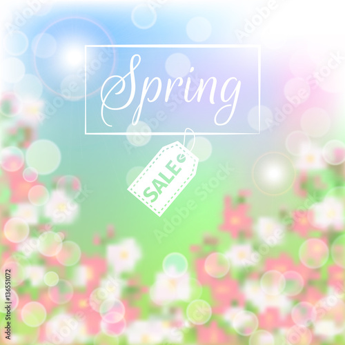 Wall mural Spring sale floral background with blossoming branch