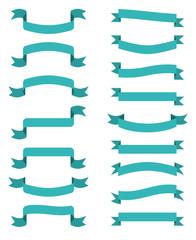 Wall Mural - Blue scroll banners. Vector wavin ribbons