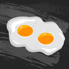 Scrambled eggs, two on a chalk board background. Vector illustration.
