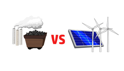 Vector image of fossil fuels versus alternative energy