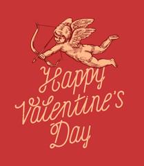 happy valentines day vintage calligraphy romantic cupid card