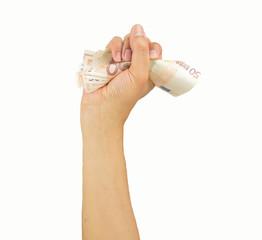 Hand crushing bank note