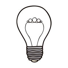 contour bulb brain electric icon, vector illustration design